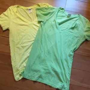 Pink Neon V-Neck Tees